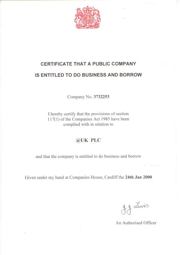 Certificate to do Business and Borrow